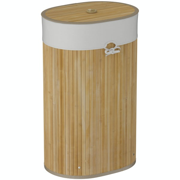 Natural bamboo oval laundry basket