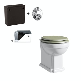 The Bath Co. Dulwich back to wall toilet with sage soft close seat and concealed cistern