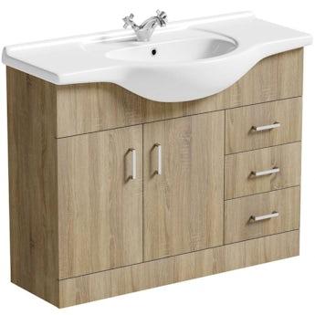 Sienna oak vanity unit and basin 1050mm