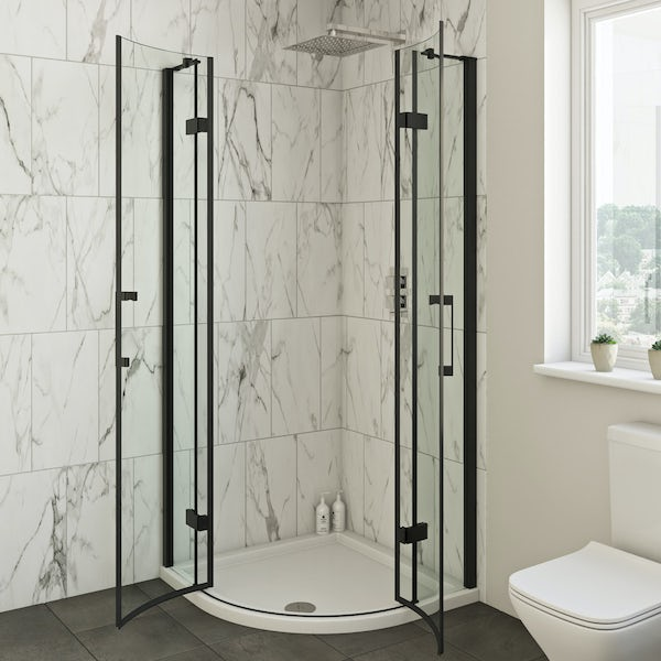 Mode Cooper black hinged quadrant shower enclosure 900x900