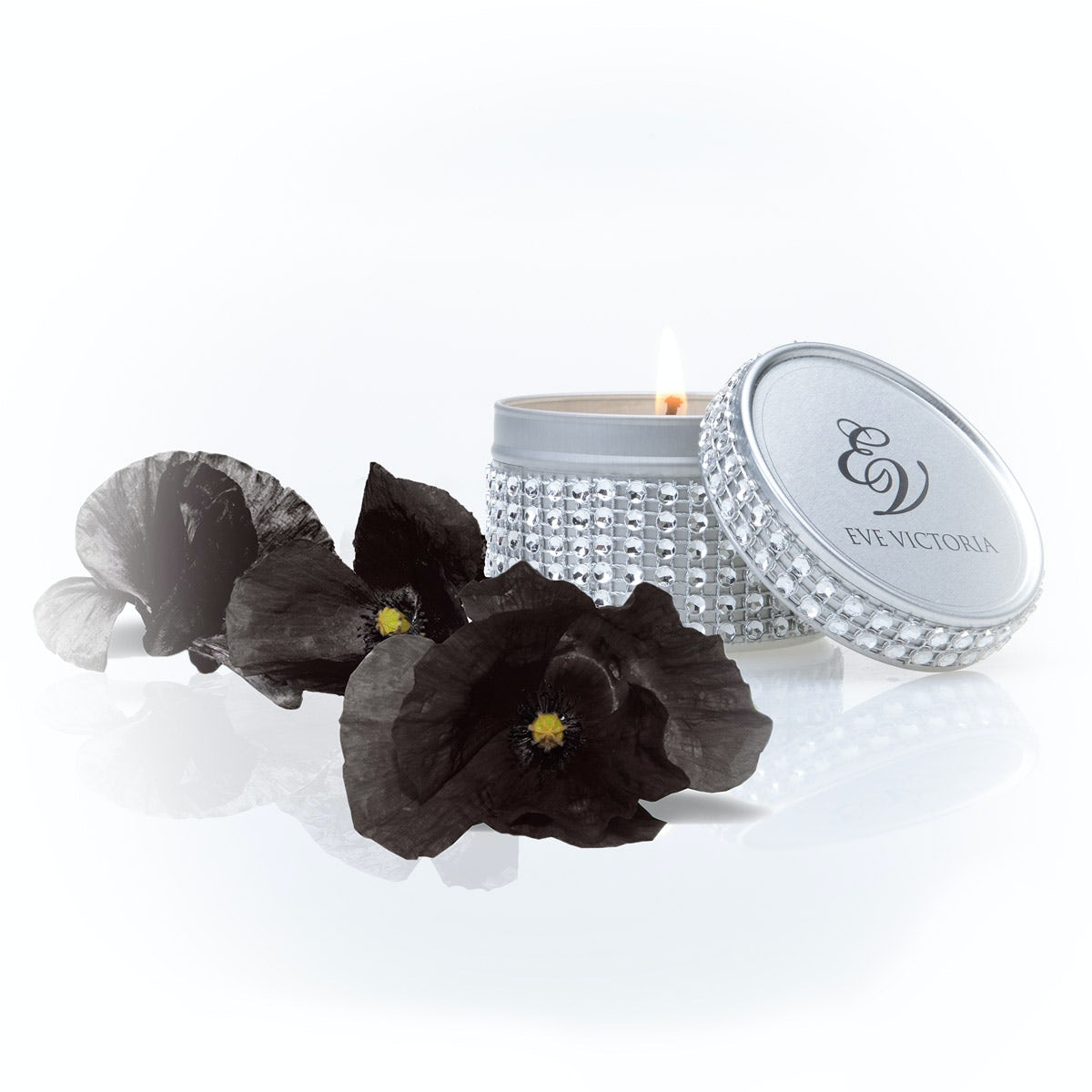 Eve Victoria Black poppy diamante tin