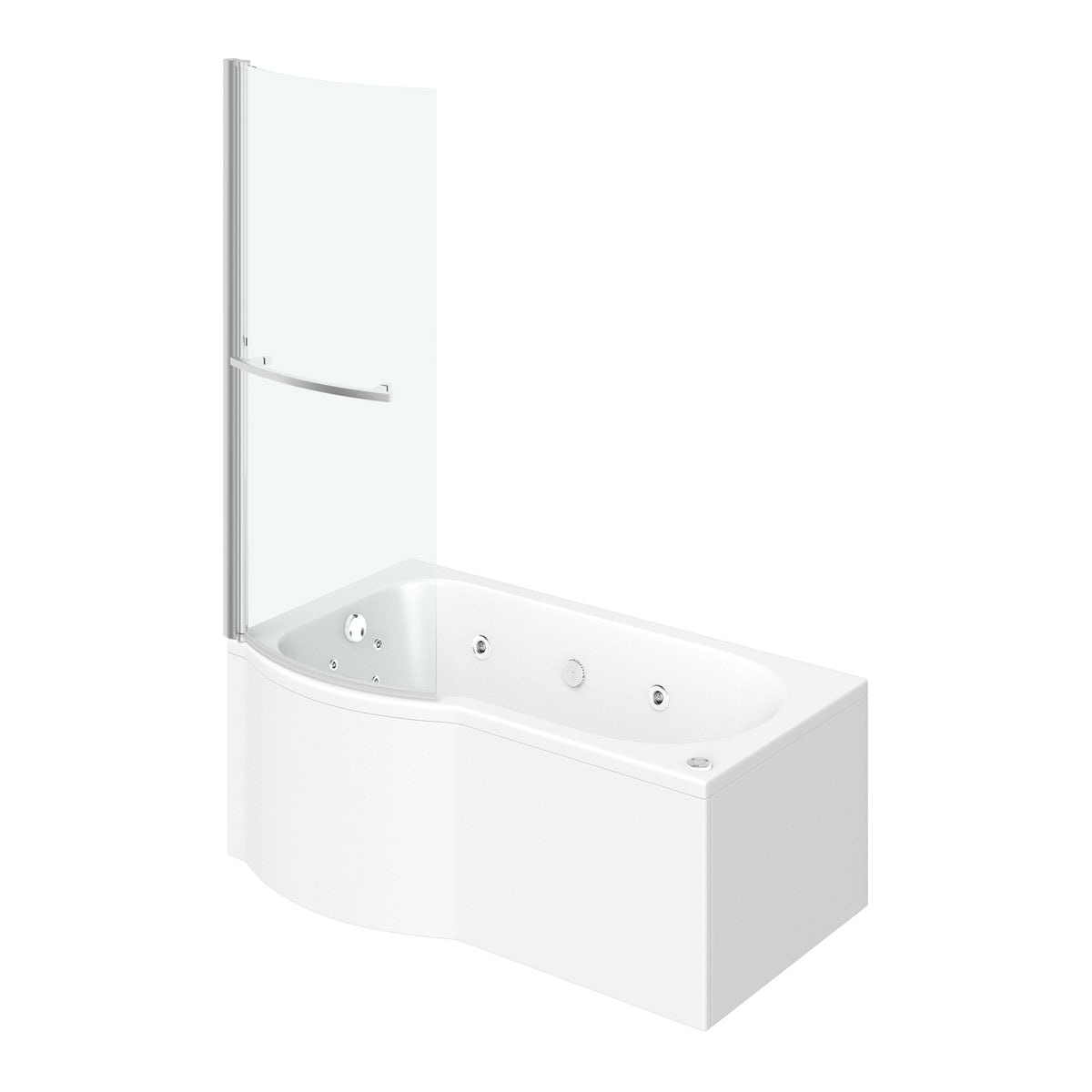 P Shaped Left Handed 12 Jet Whirlpool Shower Bath With Front Panel And Screen Victoriaplum Com