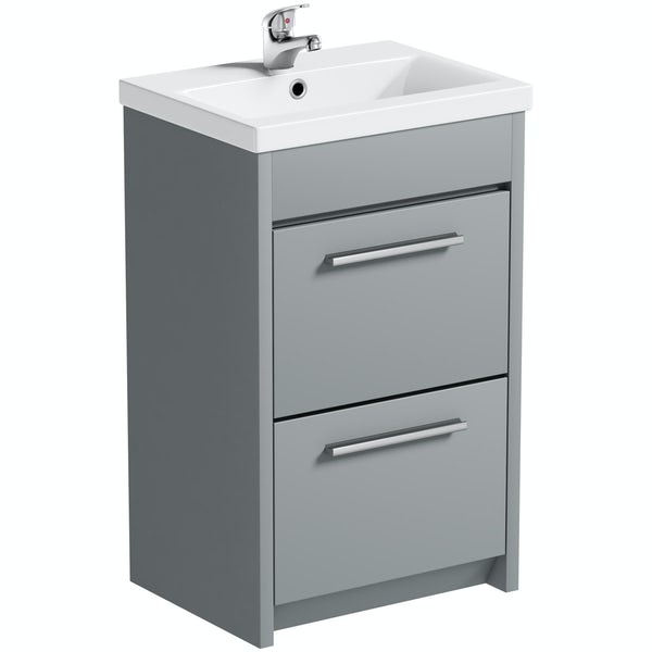 Clarity satin grey vanity unit and basin 510mm