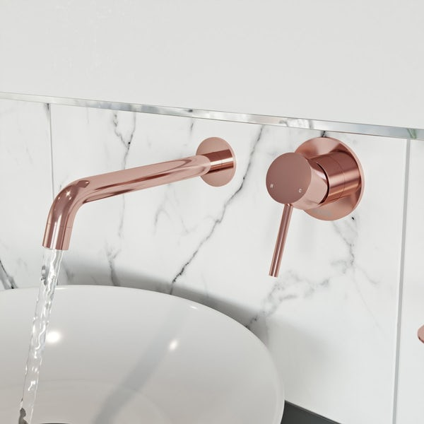 Mode Spencer round wall mounted rose gold basin mixer tap offer pack