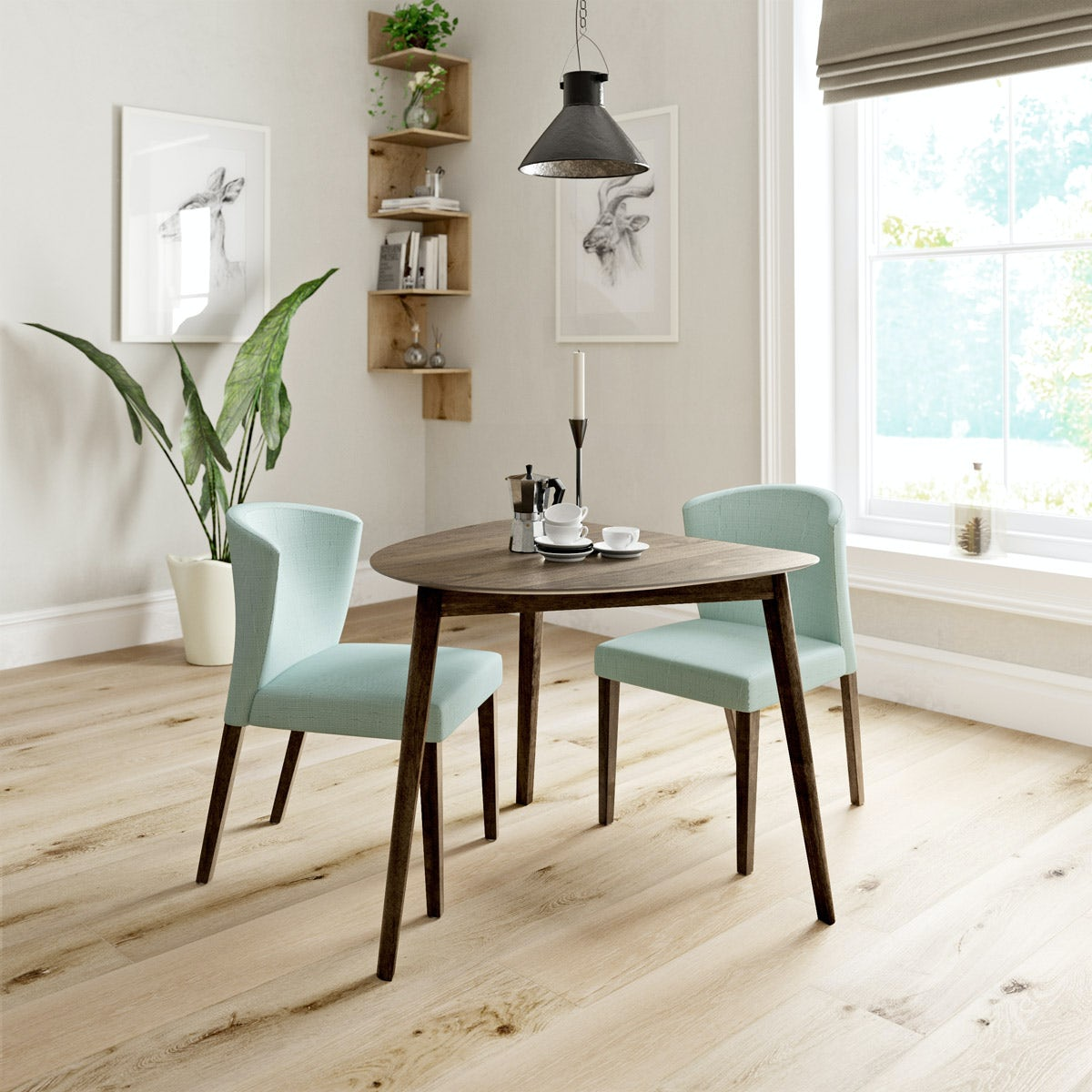 ernest walnut apartment table with 2 x hudson light cyan dining