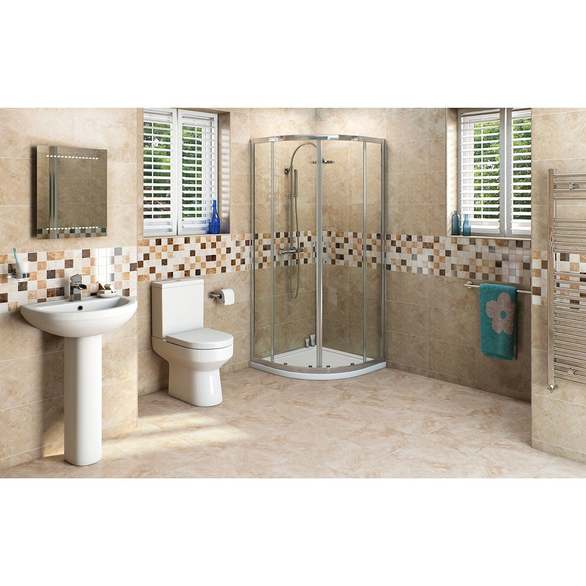 Orchard Wharfe ensuite shower bundle with quadrant enclosure and Mira Antislip shower tray