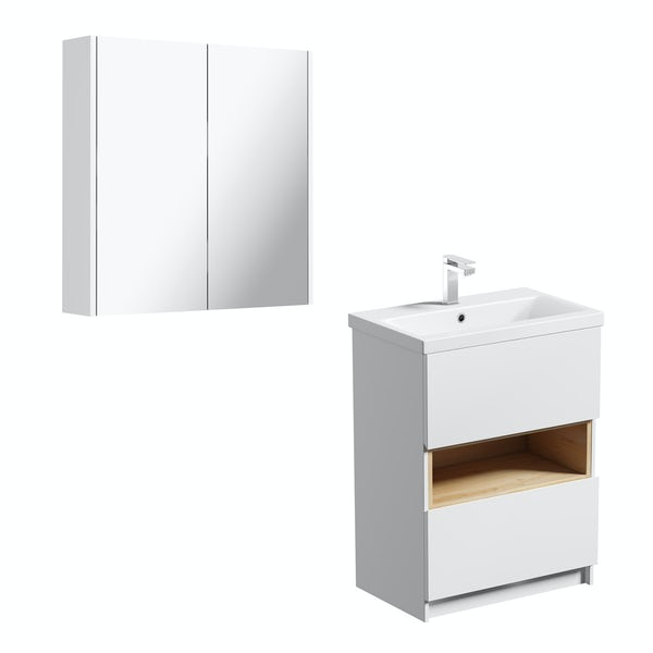 Mode Tate white & oak vanity unit 600mm with mirror