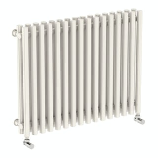 Tune soft white double horizontal radiator 600 x 790