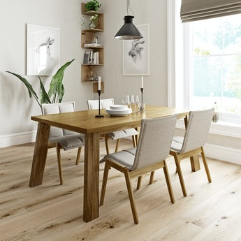 Lincoln oak dining table with 4 x Hadley beige dining chairs