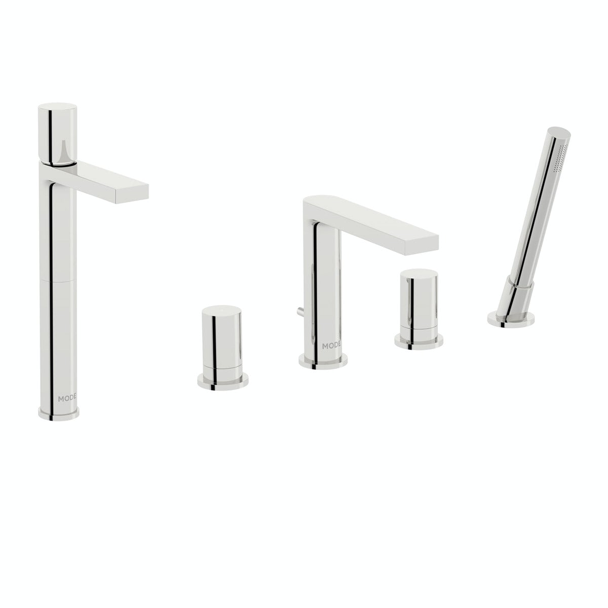Mode Heath high rise basin and 4 hole bath shower mixer tap pack