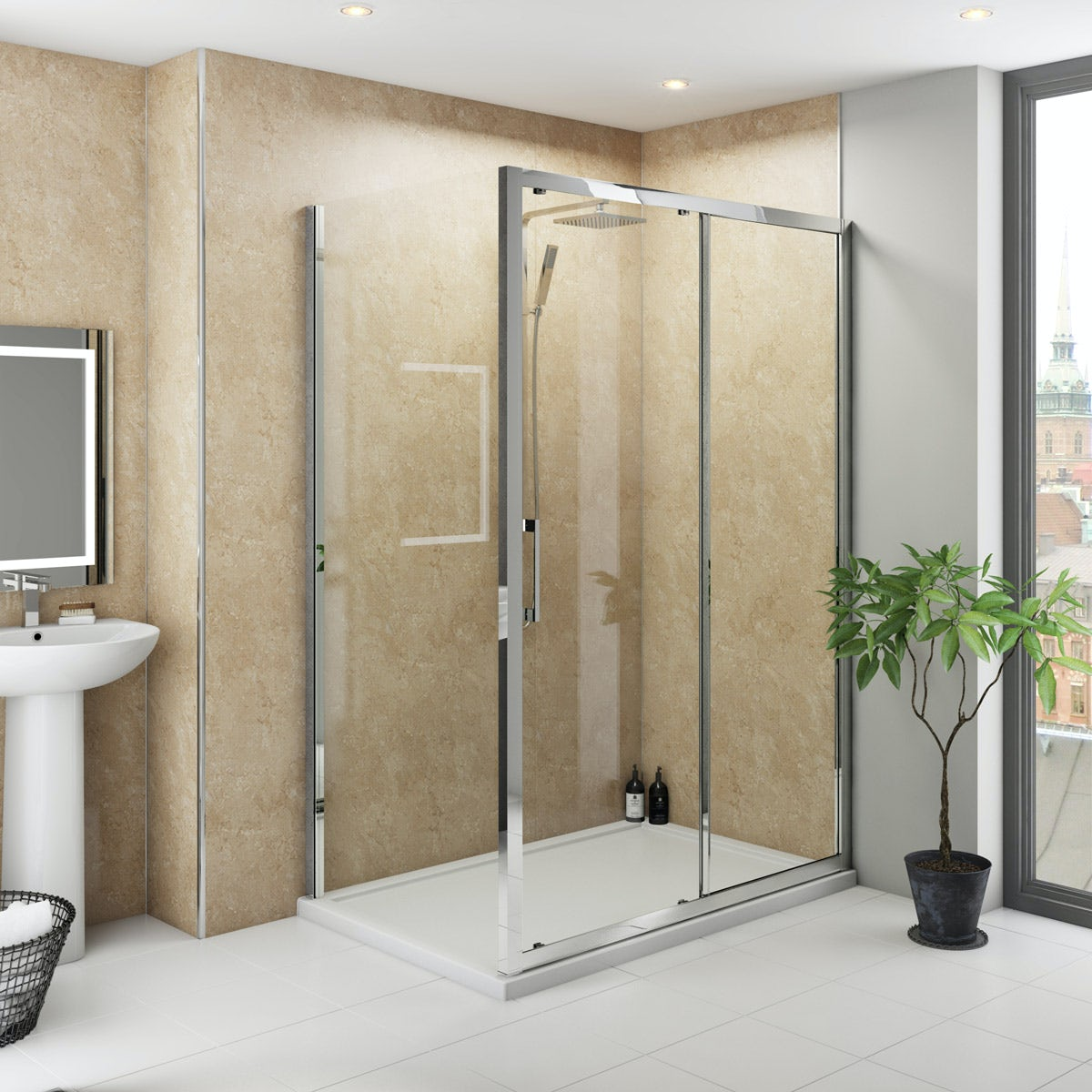 Multipanel Classic Travertine Hydrolock shower wall panel