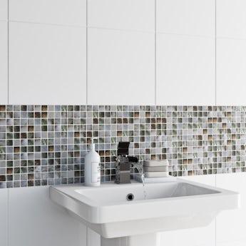 Mosaic shell multicoloured gloss tile 305mm x 305mm - 1 sheet