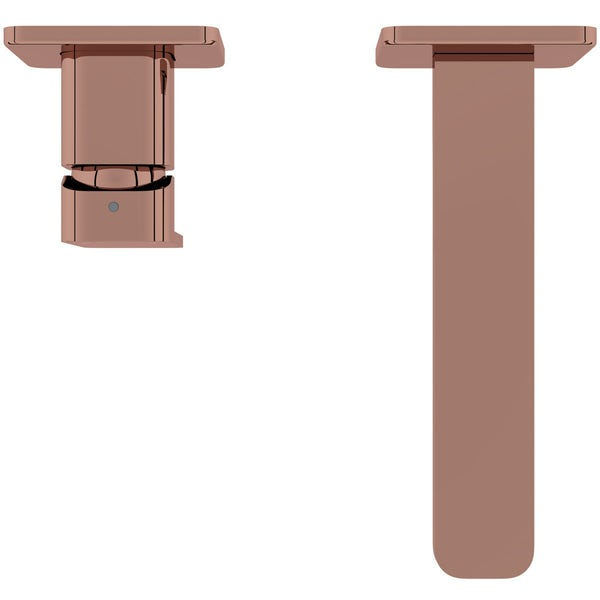 Mode Spencer square wall mounted rose gold bath mixer tap offer pack