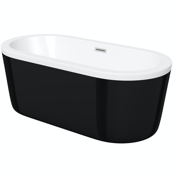 Crescent black freestanding bath