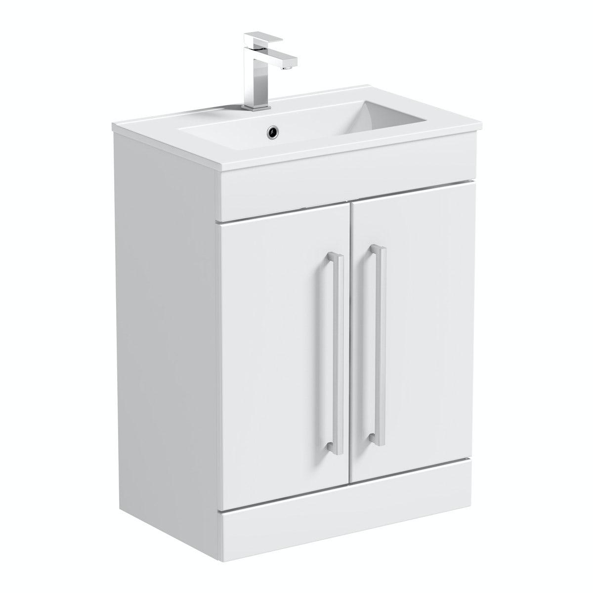 Orchard Derwent white vanity door unit and basin 600mm