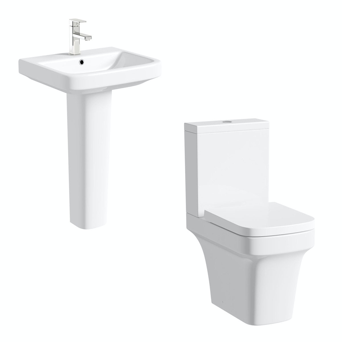 Mode Carter cloakroom suite with full pedestal basin 555mm