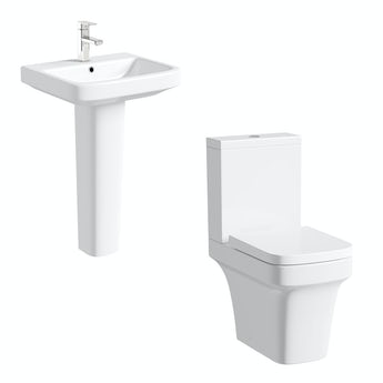 Mode Ive close coupled toilet and full pedestal basin suite