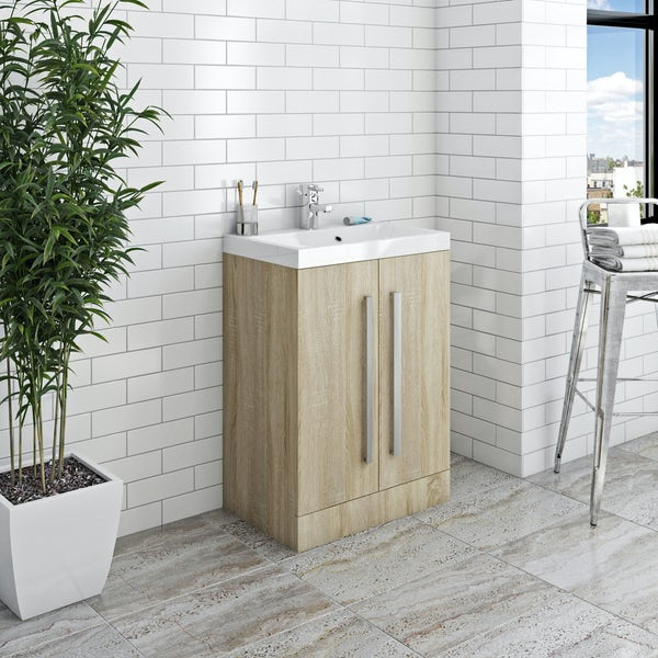 Orchard Wye oak furniture package with vanity unit 600mm