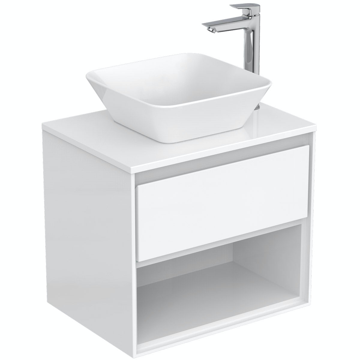 Ideal Standard Concept Air gloss and matt white wall hung countertop vanity unit and basin 600mm
