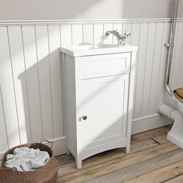 The Bath Co. Camberley white cloakroom unit with Traditional close coupled toilet