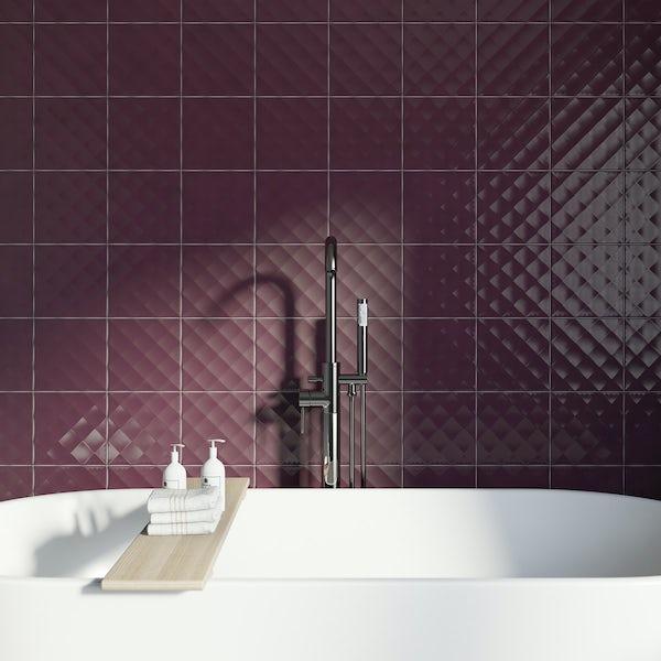 Studio Conran ridge plum gloss tile 198mm x 198mm