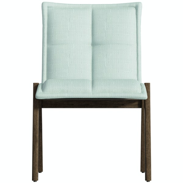 Hadley walnut and light cyan pair of dining chairs