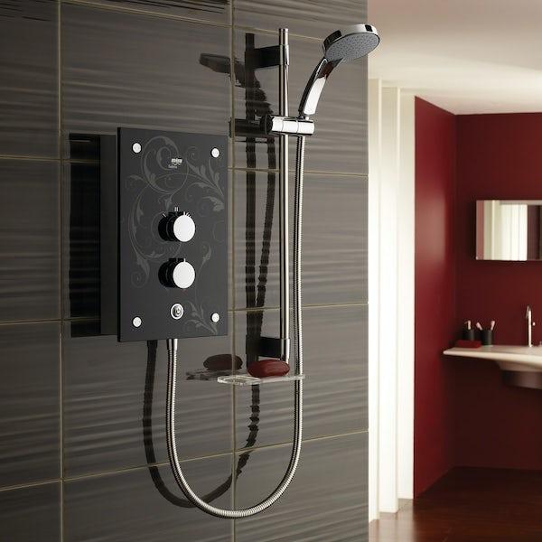 Mira Galena 9.8Kw black flock electric shower