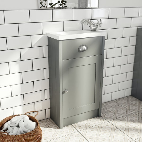 The Bath Co. Dulwich stone grey cloakroom unit with traditional close coupled toilet and white seat
