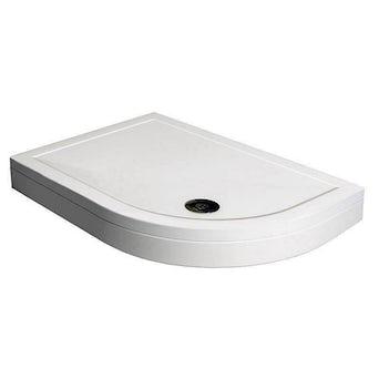Offset Quadrant Stone Shower Tray & Riser Kit 1000 x 800 RH