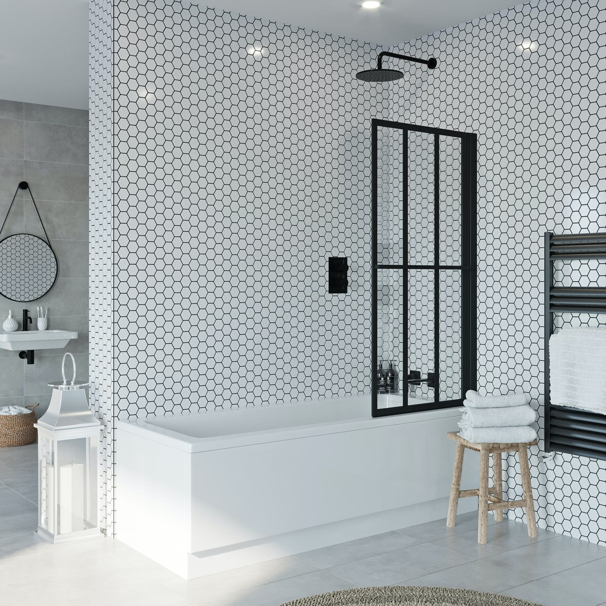 Jacuzzi Loft black framed rising shower bath screen