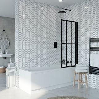 Jacuzzi Loft black framed rising shower bath screen