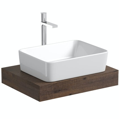 Mode Orion chestnut countertop shelf with Ellis basin, tap and waste