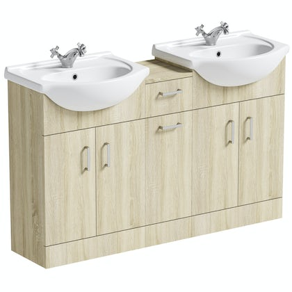 Orchard Eden oak double basin & linen basket combination