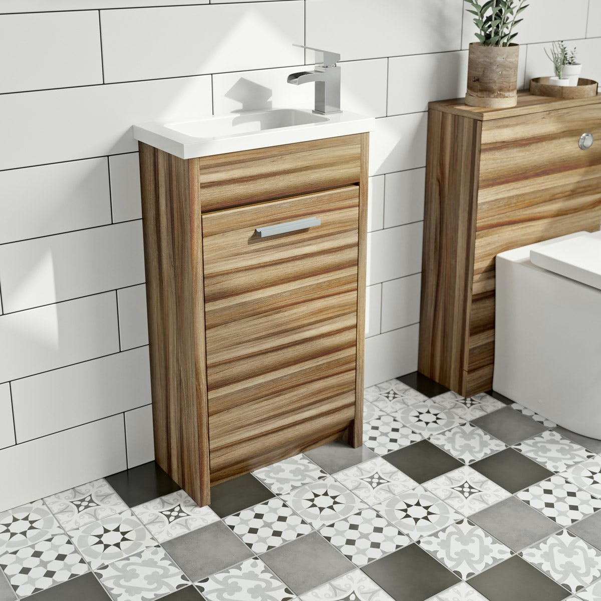 Clarity walnut cloakroom unit with basin 450mm