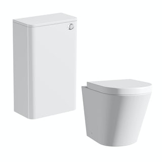 Ellis white back to wall toilet unit and Arte toilet with seat
