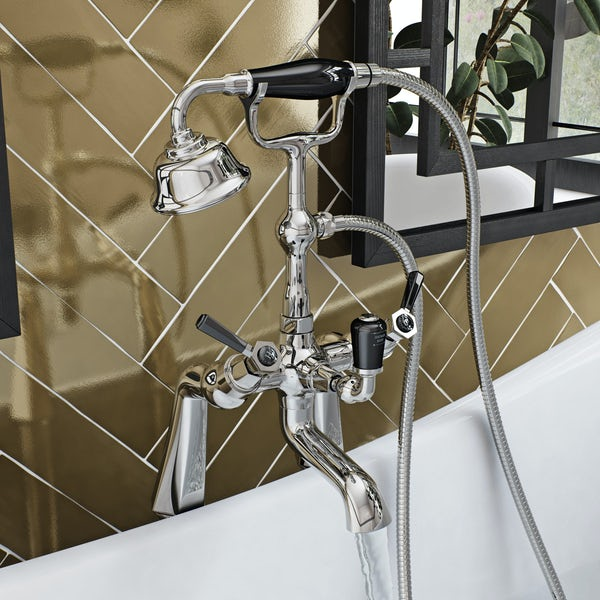The Bath Co. Beaumont lever wall mounted basin and bath shower mixer tap pack