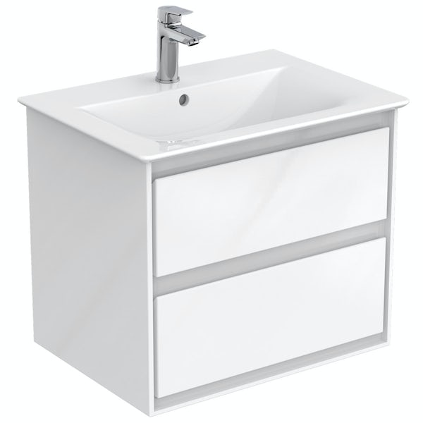 Ideal Standard Concept Air complete left hand white furniture and shower bath suite 1700 x 800