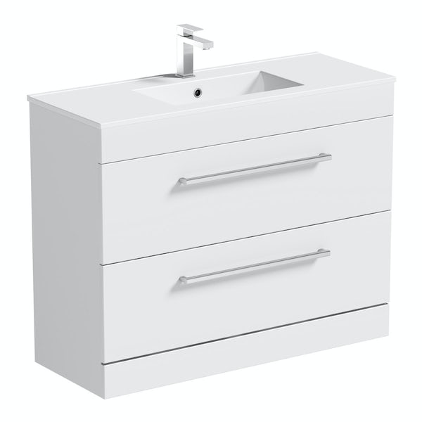 Orchard Derwent white floor drawer unit 1000mm and mirror