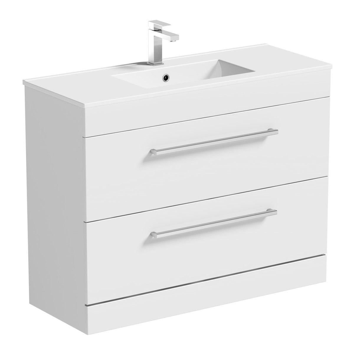 Orchard Derwent white vanity drawer unit and basin 1000mm