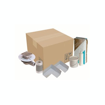 Wet room tray waste and installation kit
