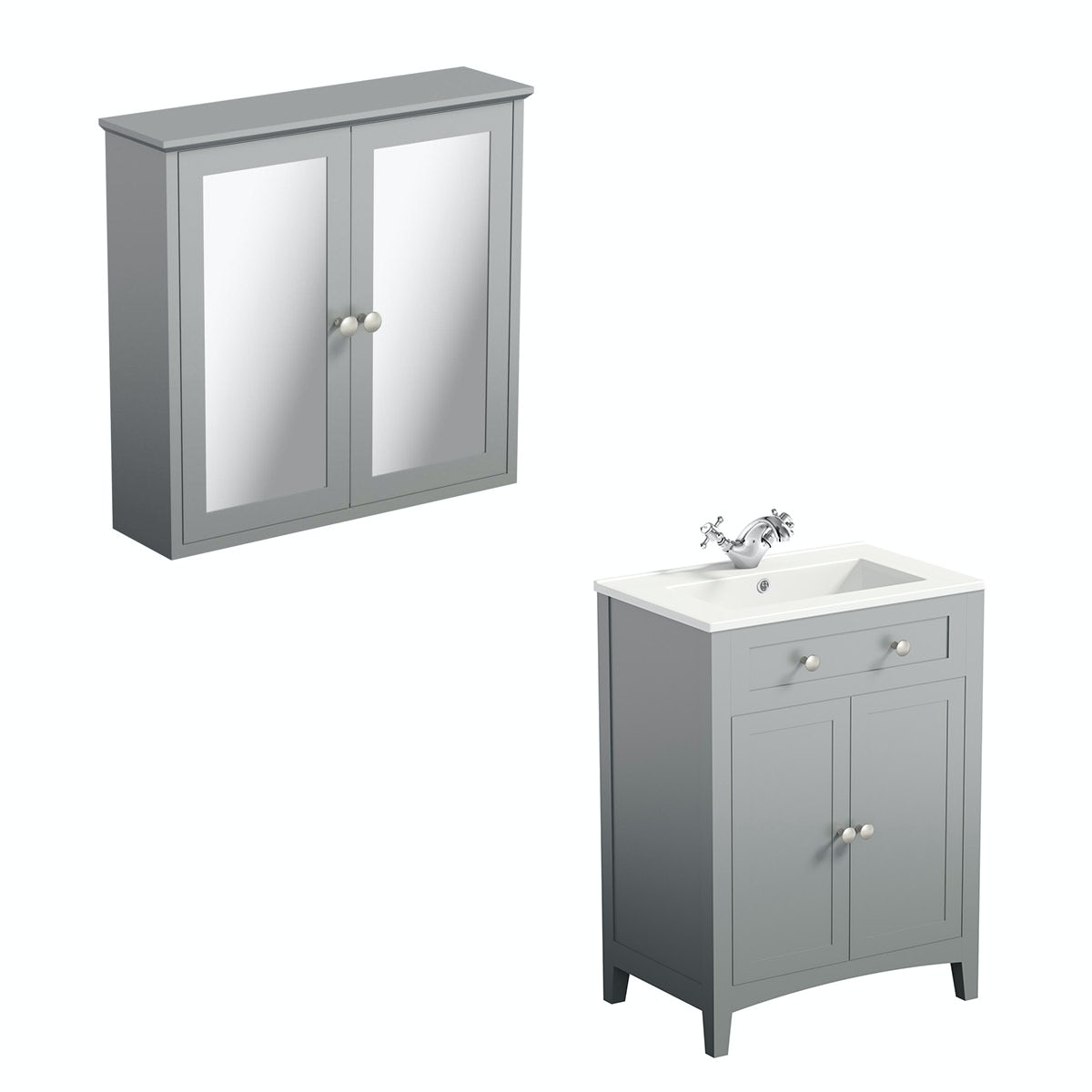Camberley Grey 600 vanity unit and mirror cabinet offer