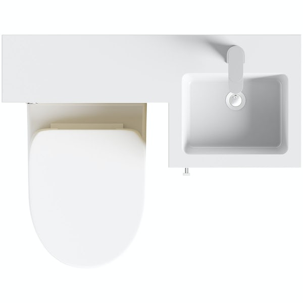 Orchard MySpace oak right handed unit with Eden back to wall toilet