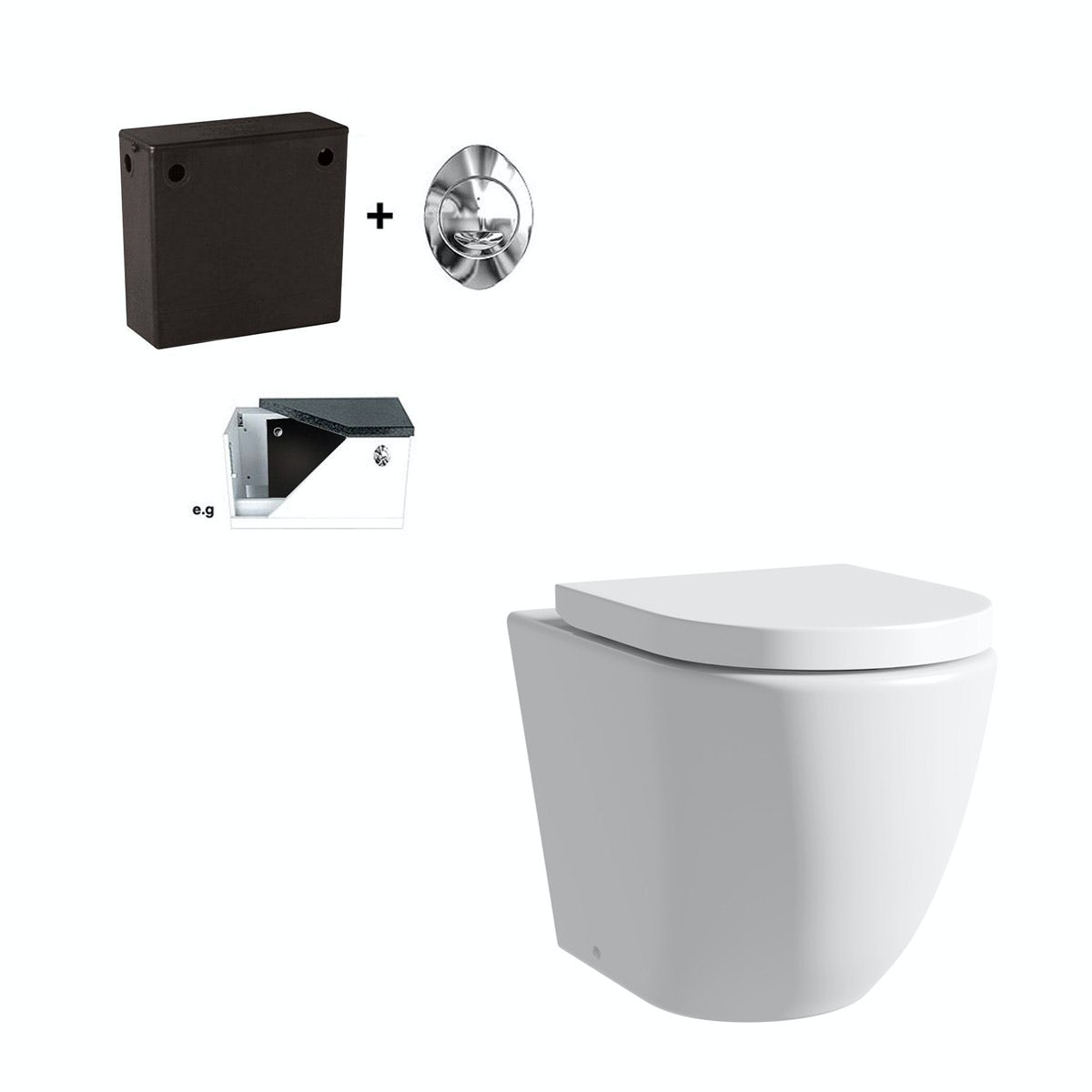 Mode Harrison rimless back to wall toilet with soft close seat and concealed cistern