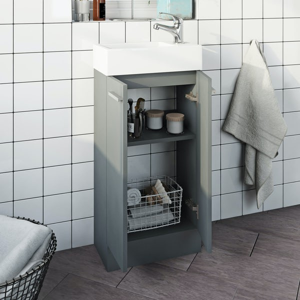 Clarity Compact satin grey cloakroom suite with contemporary close coupled toilet