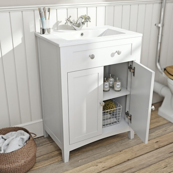 Camberley white vanity unit with basin 600mm