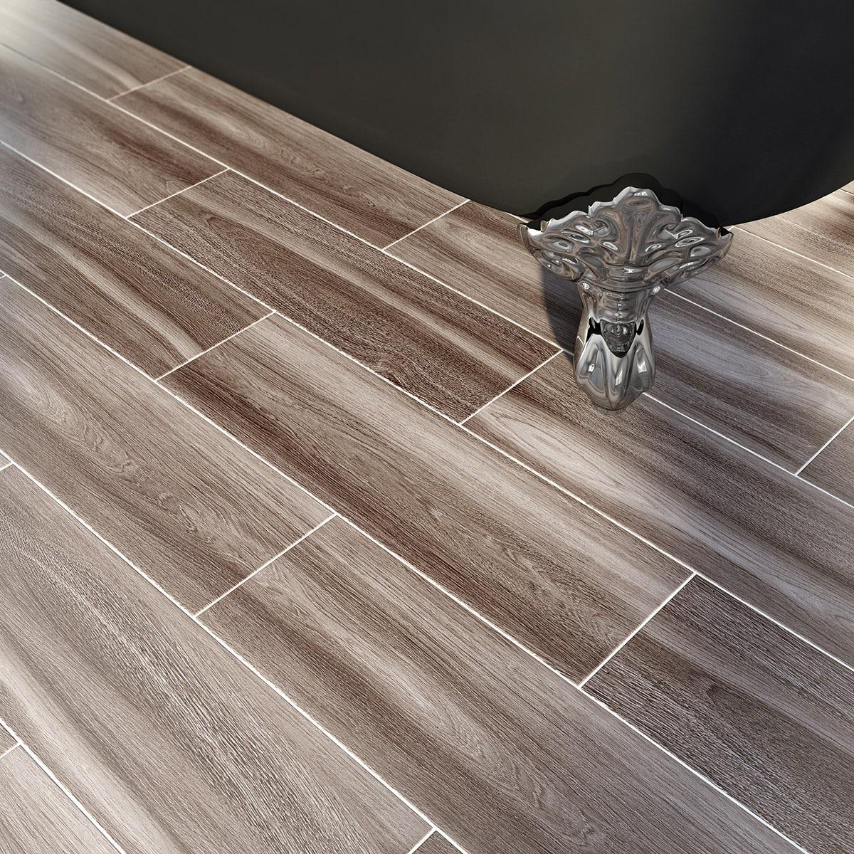 Bark grey wood effect grey matt tile 148mm x 498mm