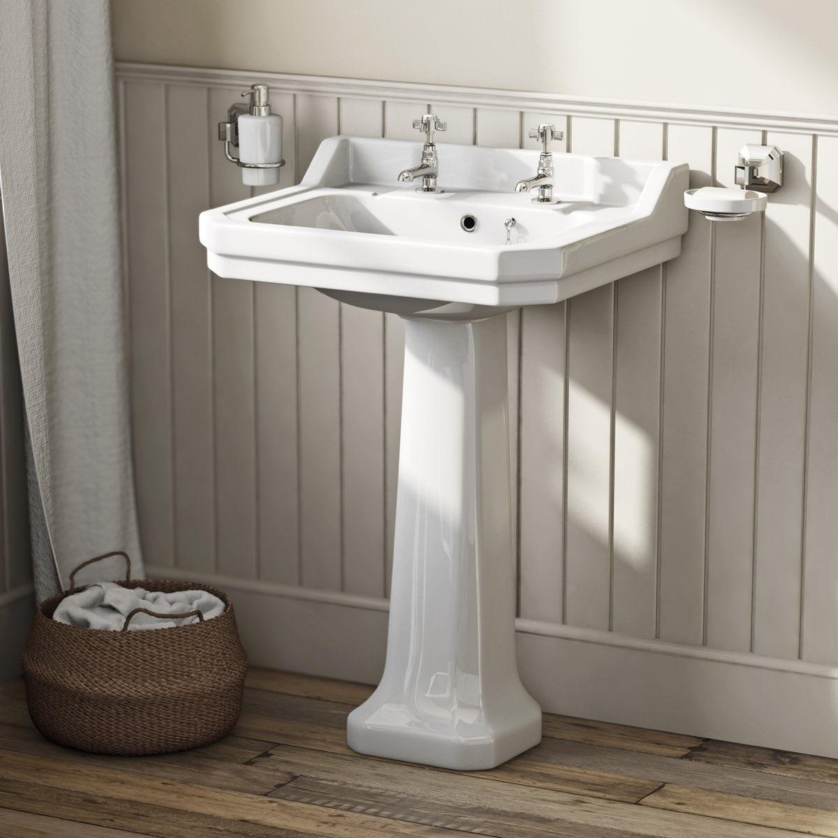 The Bath Co. Camberley 2 tap hole full pedestal basin 560mm