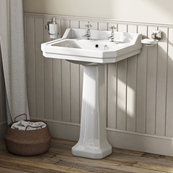 The Bath Co. Camberley oak suite with freestanding slipper bath