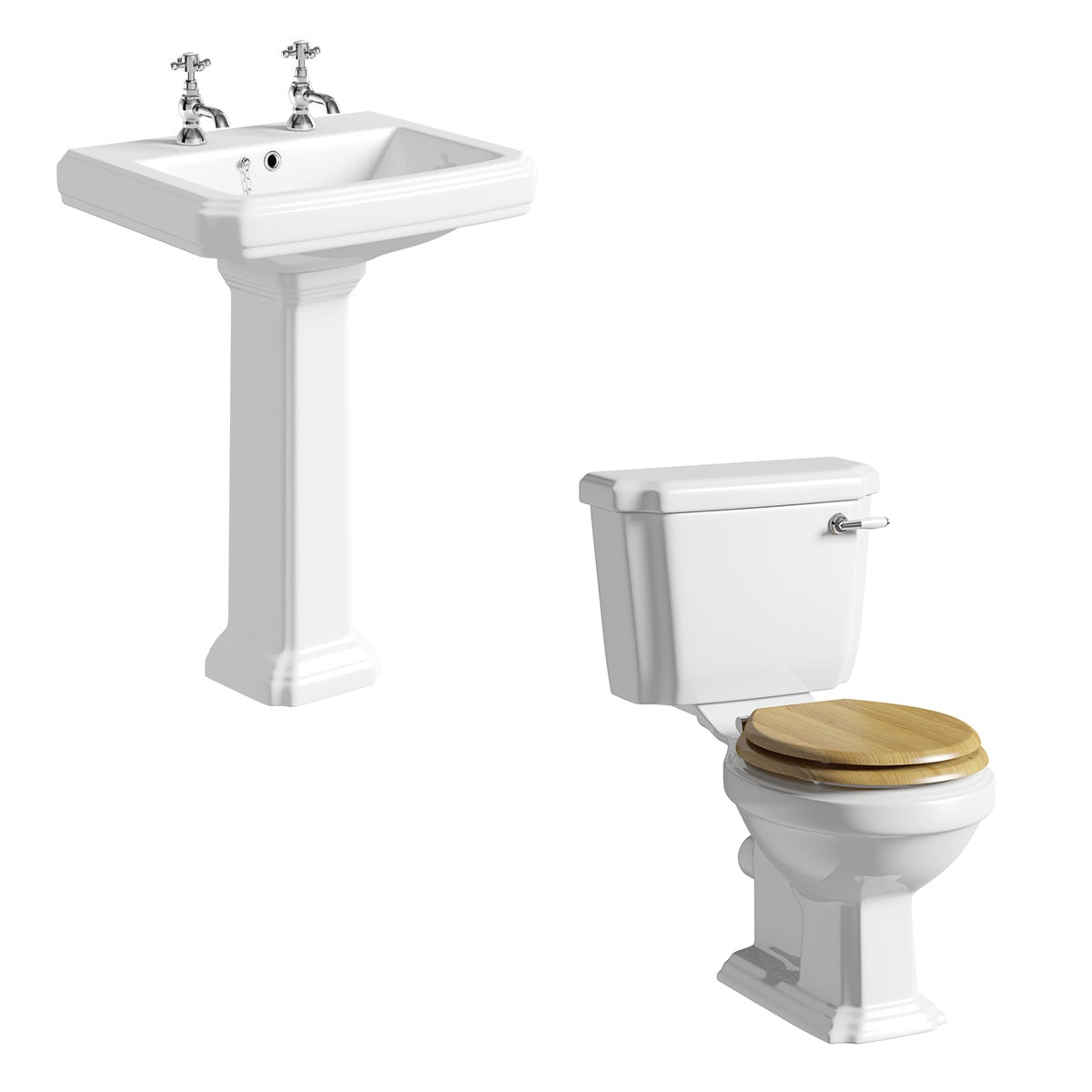 The Bath Co. Dulwich cloakroom suite with oak seat and full pedestal basin 615mm
