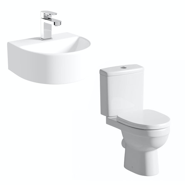 Eden close coupled toilet and Pichola wall hung basin cloakroom set